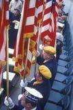 Veterans Holding Flags, Arlington National Cemetery, Washington, D.C. Stock Images