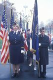 Veterans Holding Flags, Arlington National Cemetery, Washington, D.C. Royalty Free Stock Photos