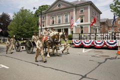 Veterans with horses marching Royalty Free Stock Photo