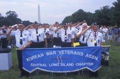 Veterans of Korean War Saluting, Korean War 50th Anniversary, Washington, D.C. Royalty Free Stock Photo