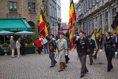 Veterans march in Bruges Royalty Free Stock Images