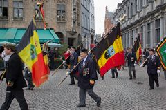 Veterans march in Bruges Royalty Free Stock Image