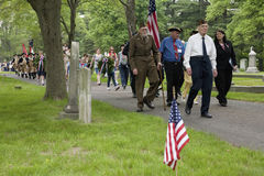 Veterans march on Memorial day Stock Photo