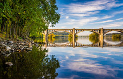 The Veterans Memorial Bridge reflecting in the Susquehanna River Stock Photo