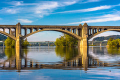 The Veterans Memorial Bridge reflecting in the Susquehanna River Royalty Free Stock Image