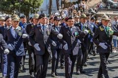 Veterans participating at military parade of Italian National Da Stock Photos
