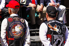 Veterans - Patriot Guard Riders and Rolling Thunder. Inc. Two members of the Rolling Thunder, Inc. and Patriot Guard Riders listen to presenters and speakers stock images