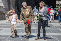Veterans, patriot, ortodox and comunist picefully celebrate Vict. Victory Day or 9 May marks the capitulation of Nazi Germany to the Soviet Union in the Second Stock Photography