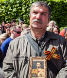 Veterans, patriot, ortodox and comunist picefully celebrate Vict. Victory Day or 9 May marks the capitulation of Nazi Germany to the Soviet Union in the Second Royalty Free Stock Image