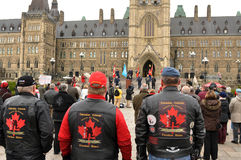 Veterans protest on Parliament Hill Stock Images