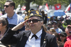 Veterans saluting at Los Angeles National Cemetery Annual Memorial Event, May 26, 2014, California, USA Stock Photo