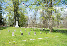 Veterans section of a cemetery. Civil war memorial in a veterans section of an old cemetery in Saginaw MI Stock Image
