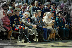 The veterans sitting on the bench. Stock Image