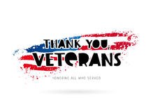 Veterans. Thank you, veterans. Honoring all who served. Lettering. Vector illustration on white background with a smear ink of colors of the American flag Royalty Free Stock Photo