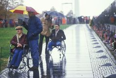 Veterans in Wheelchairs. At Vietnam Memorial, Washington, D.C Royalty Free Stock Image