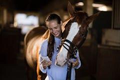 Veterinário fêmea que usa o telefone celular ao estar pelo cavalo imagem de stock