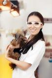 Veterinário novo Female Doctor com cão bonito foto de stock