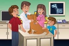 Veterinário que examina um cão Imagens de Stock