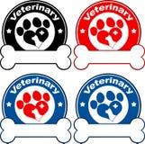 Veterinär- cirkeletikettdesign med förälskelse Paw Dog Isolerat på white Fotografering för Bildbyråer