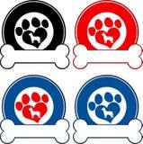 Veterinär- cirkeletiketter med förälskelse Paw Dog And Bone Isolerat på white Arkivbilder