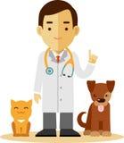 Veterinär- doktor, hund och katt Arkivbilder