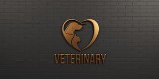 Veterinär- hund och Cat Bronze Logo på svart väggdesign illustrationen 3d framför Arkivfoto