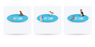 Veterinär- klinikbaneruppsättning, lycklig hund, djurhälsa vektor Arkivfoto