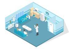 Veterinär- klinikinre med doktorer som har avbrottet vektor illustrationer