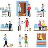Veterinär- klinikuppsättning, folk som besöker veterinärkliniken med deras husdjur, veterinär- doktorer som undersöker hundkapplö stock illustrationer