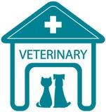 Veterinär- symbol med den hem- kliniken och husdjuret Arkivbilder
