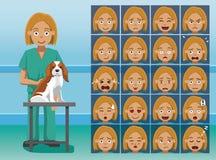 Veterinären Cartoon Character Emotion för sjukhuspersonalen vänder mot stock illustrationer