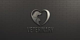 Veterinärhund und Cat White Logo auf schwarzer Wandgestaltung 3d übertragen Abbildung Stockbilder