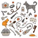 Veterinärklinik, Apotheke und ein Satz medizinische Instrumente Vektorillustration, Gekritzel Behandlung von Tieren lizenzfreie abbildung
