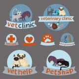Veterinärkliniken, husdjur shoppar, och ansa enkla symboler för veterinär- medicin, shoppar husdjuret och ansa symbolsuppsätt royaltyfri illustrationer