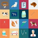 Veterinärklinikkarikaturikonen in der Satzsammlung für Design Behandlung einer Haustiervektorsymbolvorrat-Netzillustration lizenzfreie abbildung