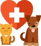 Veterinair embleem met kat en hond Stock Afbeelding