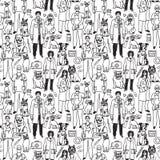 Veterinair mensen en huisdieren naadloos zwart patroon Stock Foto's