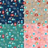 Veterinair reeks naadloos patroon Vector illustratie Royalty-vrije Stock Foto's