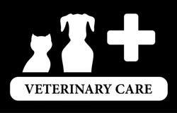 Veterinair zorgpictogram met dierlijk silhouet Stock Foto's