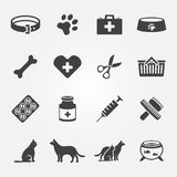 Veterinaire geplaatste huisdieren vectorpictogrammen Stock Afbeelding