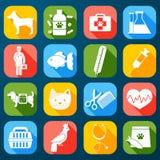 Veterinaire geplaatste pictogrammen Royalty-vrije Stock Afbeeldingen