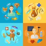Veterinaire geplaatste pictogrammen Royalty-vrije Stock Foto's