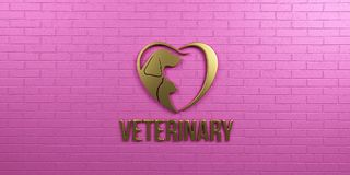 Veterinaire Hond en Cat Gold Logo op Roze Muurontwerp 3d geef illustratie terug Stock Afbeeldingen
