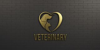 Veterinaire Hond en Cat Gold Logo op Zwart Muurontwerp 3d geef illustratie terug Royalty-vrije Stock Foto