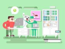 Veterinaire kliniek bezoeker en arts Stock Foto's