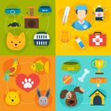 Veterinaire pictogrammen geplaatst vlak Stock Afbeeldingen
