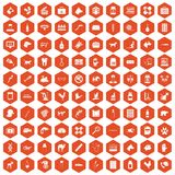 100 veterinaire pictogrammen hexagon sinaasappel Vector Illustratie