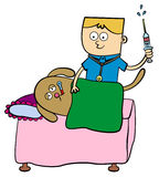 Veterinarian. A veterinarian with a syringe and a sick dog laying in bed Royalty Free Stock Photography