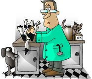 Veterinarian. This illustration that I created depicts a veterinarian checking a dog Royalty Free Stock Photos