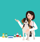 Veterinarian animal dog doctor in clinic woman young professional in clinic taking care. Vector Royalty Free Stock Photo